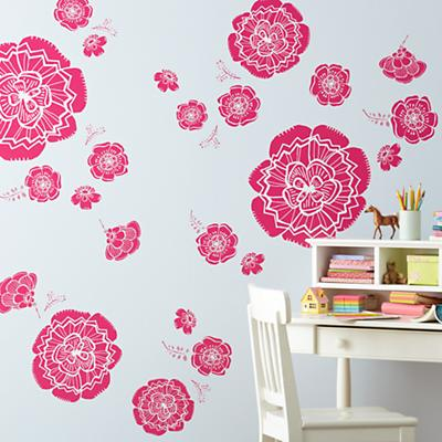Bursting Bloom Flower Decals (Pink)