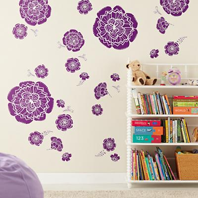 Bursting Bloom Flower Decals (Purple)