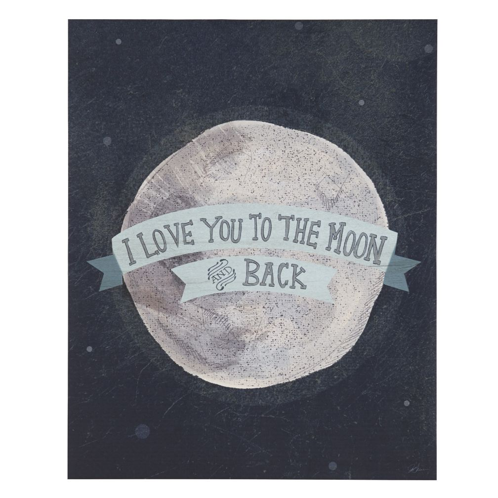 I Love You to the Moon and Back Poster Decal (Blue)