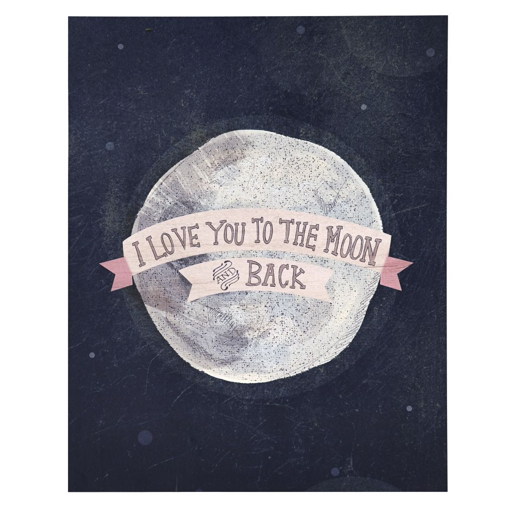 I Love You To The Moon And Back Wall Art i love you to the moon and back poster decal (pink) | the land of nod