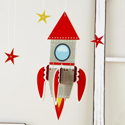 Fly Me Through the Room Hanging Rocket (Red)