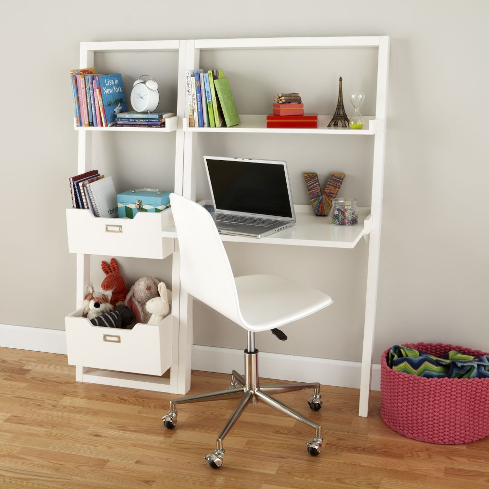 New Bookcase Toy Box White Finish Bedroom Playroom Child: Kids' Desk: Kids White Leaning Wall Desk
