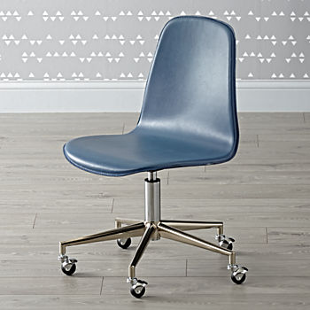 Class Act Silver and Dark Blue Desk Chair
