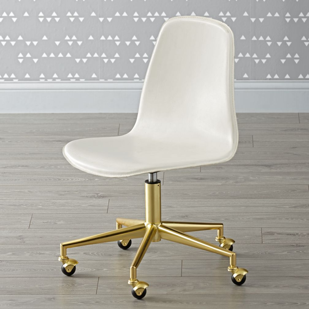 White Gold Class Act Desk Chair The Land Of Nod
