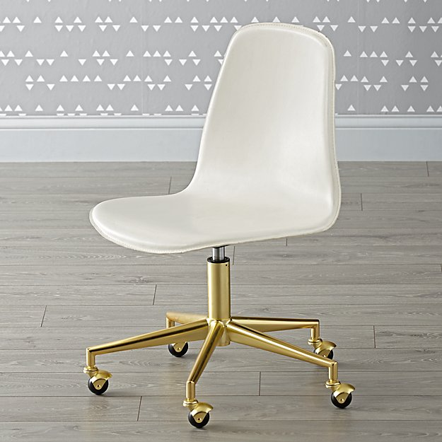 class act white gold desk chair the land of nod. Black Bedroom Furniture Sets. Home Design Ideas