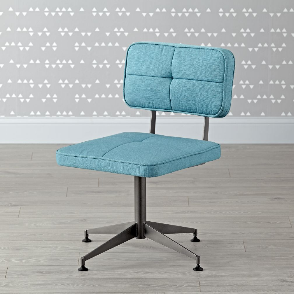 aqua tufted desk chair | the land of nod
