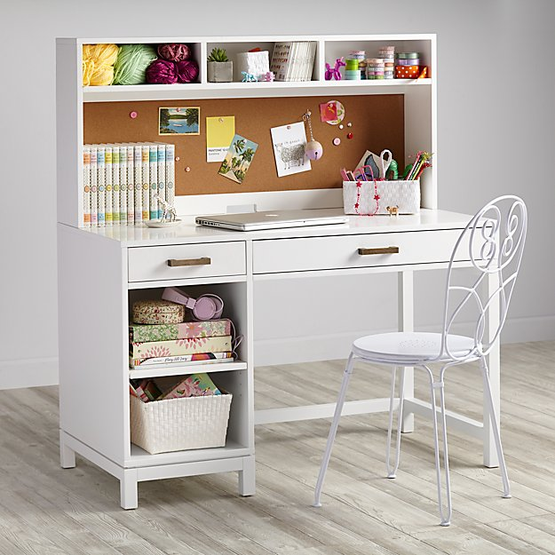 Cargo kids desk white the land of nod for White desk with hutch ikea