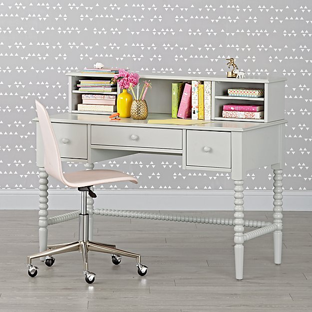 Jenny Lind Light Grey Spindle Desk & Hutch