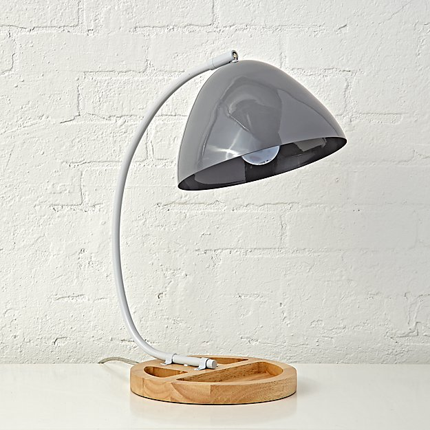 Grey Organizer Desk Lamp