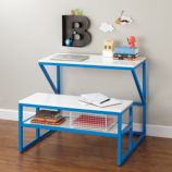 New School Table With Bench (Cobalt/White)