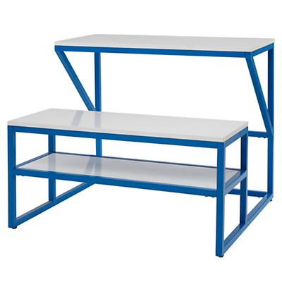 New School Desk With Bench (Cobalt/White)