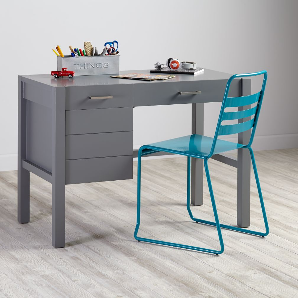 . uptown modern kids' desk (grey)  the land of nod