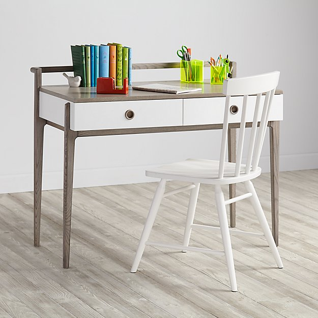 Wrightwood Grey Stain and White Desk