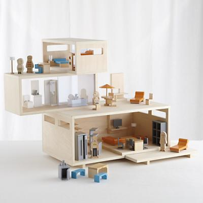 Modern Dollhouse and Furniture Set