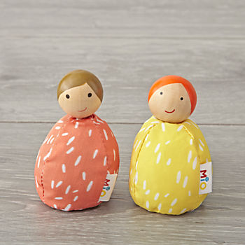 Set of 2 Orange and Yellow Dollhouse People