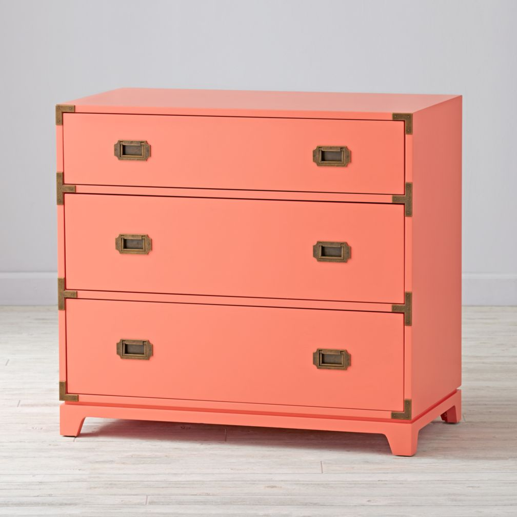 . Campaign 3 Drawer Dresser  Coral    The Land of Nod