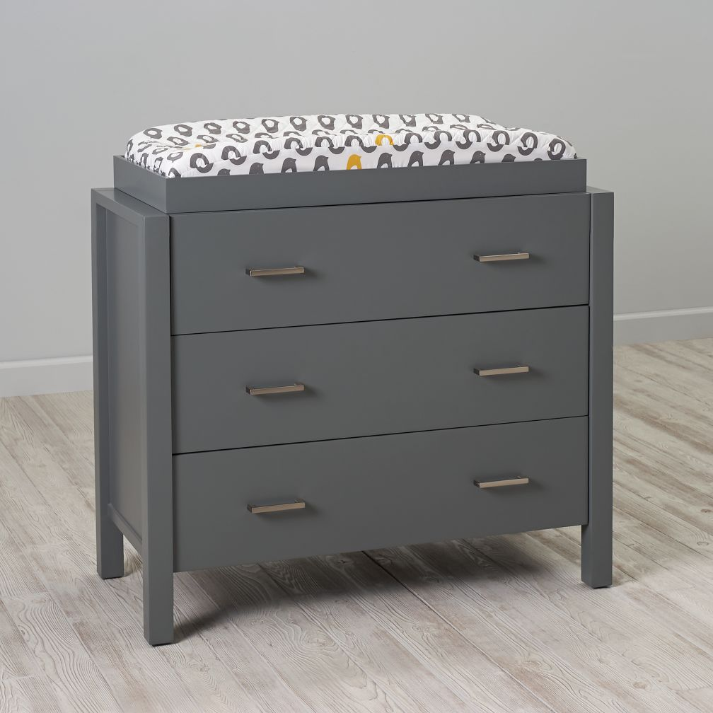 Uptown grey changing table dresser the land of nod Nursery chest of drawers with changer