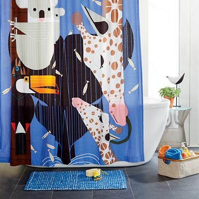 Charley Harper Zoo Babies Shower Curtain