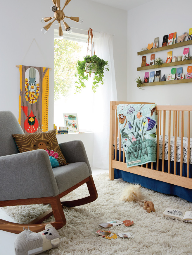 Nursery Room with Nature Center Charley Harper Crib bedding