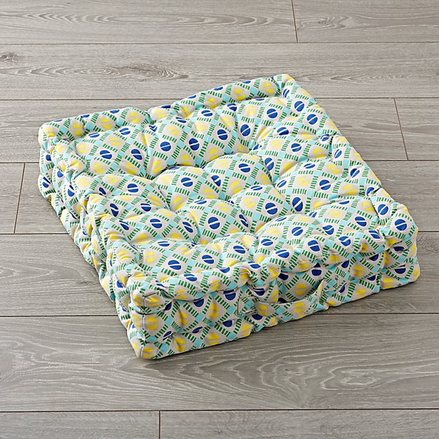 Tufted Blue and Green Floor Cushion