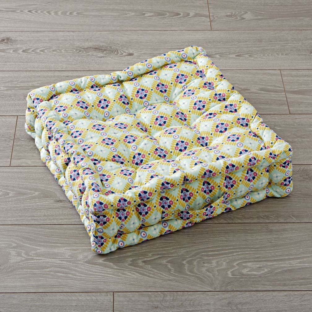 Tufted Light Green and Lavender Floor Cushion The Land of Nod