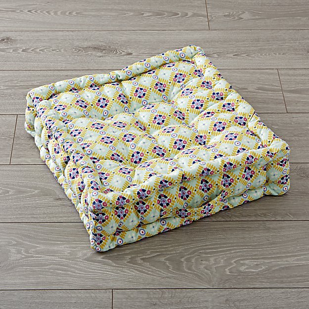 Tufted Light Green and Lavender Floor Cushion
