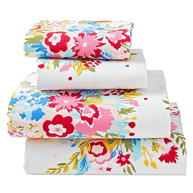 Floral Flannel Queen Sheet Set