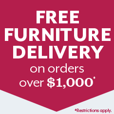 free furniture delivery on orders over $1k. Restrictions Apply.