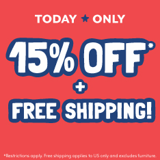 Today only, 15% off  plus free shipping! Restrictions apply. Free Shipping excludes furniture.