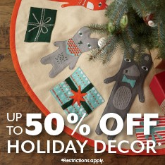Up to 50% off holiday decor. Restrictions apply.