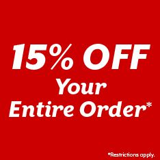 15% off Your entire order. Restrictions apply.