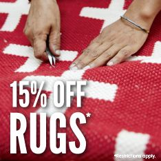 15% off rugs. Restrictions apply.