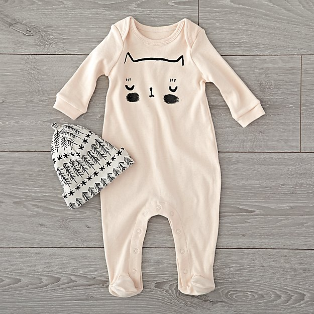 Organic Pink Cat 0-3 Month Footie and Hat Set
