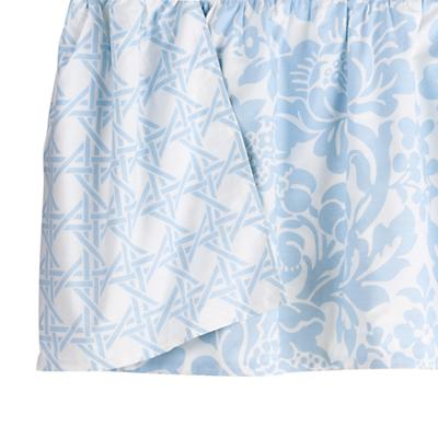 Blue Floral/Lattice Reversible Gathered Skirt