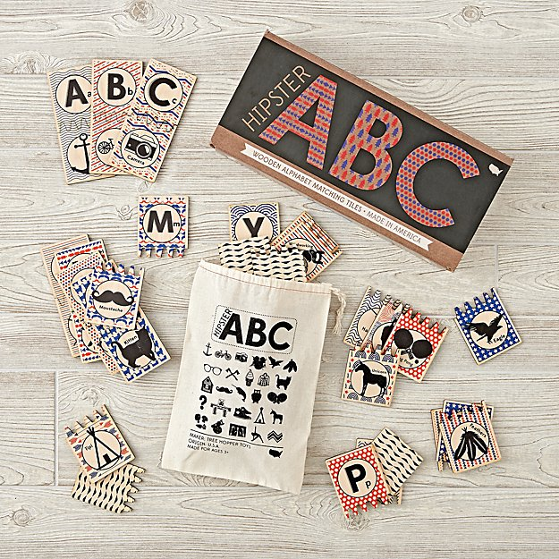 Hipster ABC Wooden Alpha Tiles