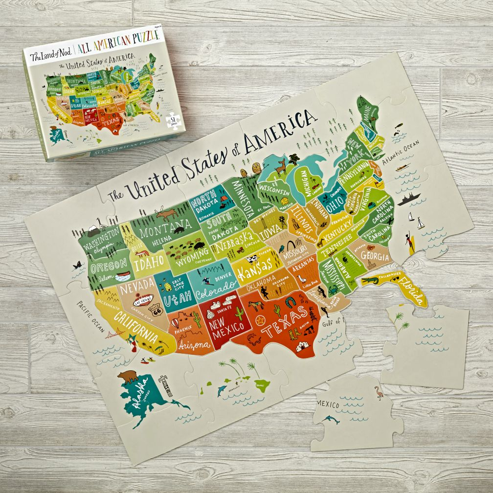All American USA Floor Puzzle The Land Of Nod - Puzzle us map