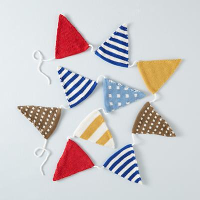 Blue Patterned Flag Garland