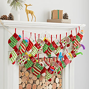Stocking Advent Calendar Garland with Toys