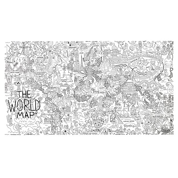 Large World Map Coloring Poster  The Land of Nod