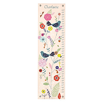 Personalized Birds and Blooms Growth Chart