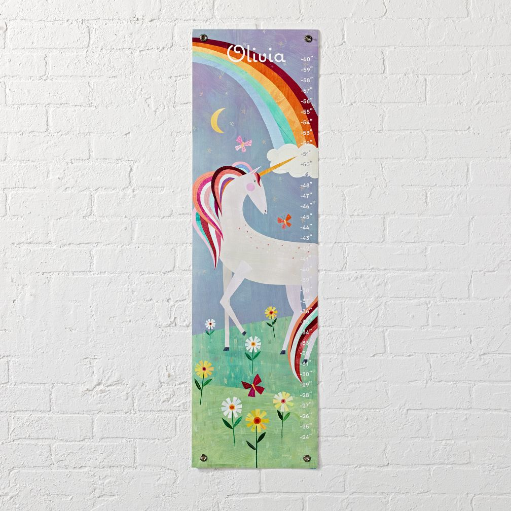 kids toddler wall growth chart the land of nod unicorn growth chart