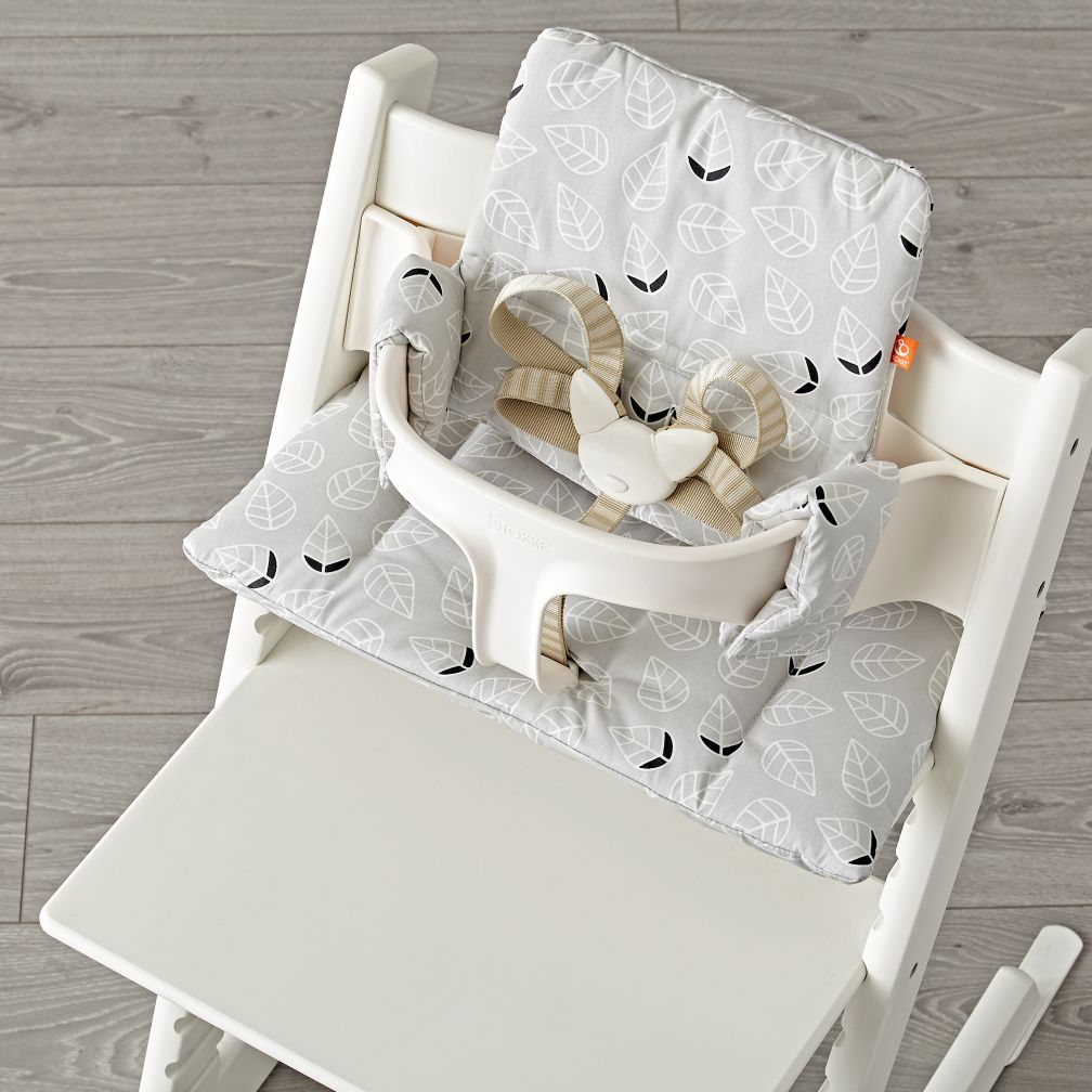 tripp trapp grey leaf cushion from stokke the land of nod. Black Bedroom Furniture Sets. Home Design Ideas