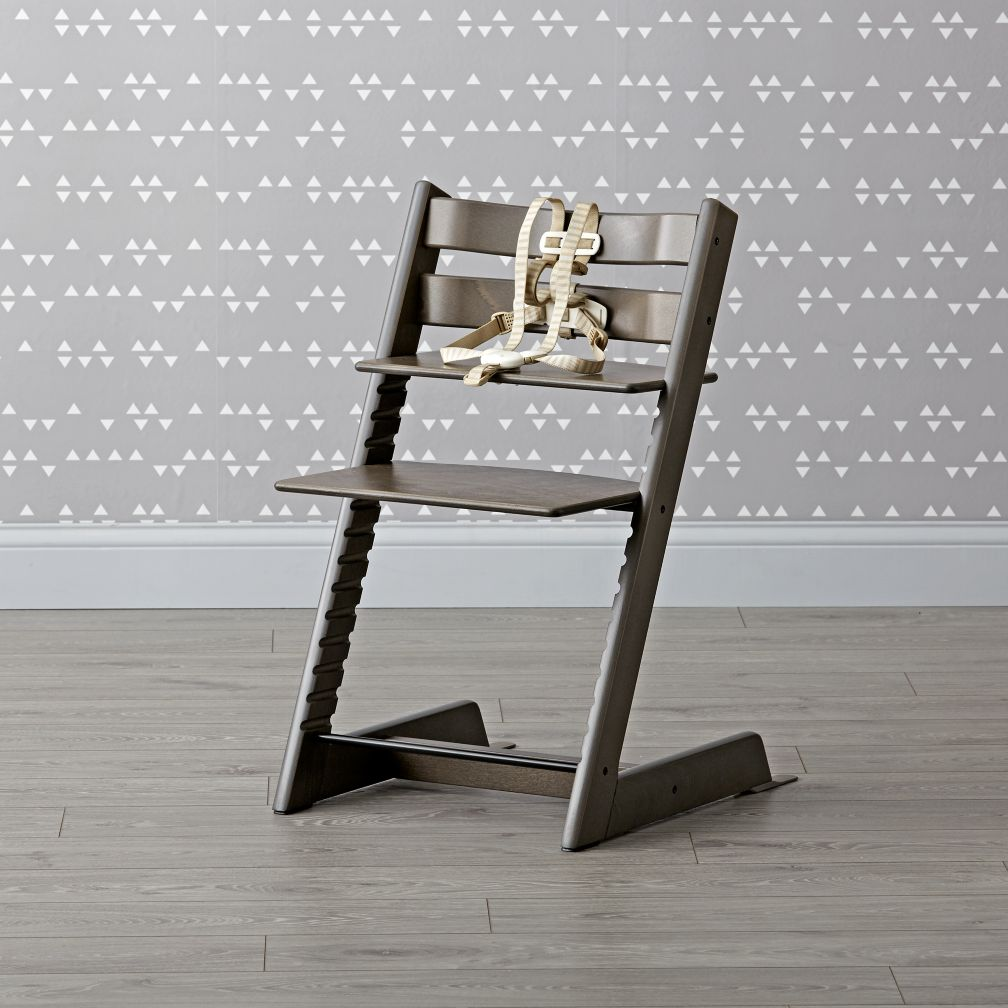 stokke tripp trapp high chair in hazy grey the land of nod. Black Bedroom Furniture Sets. Home Design Ideas