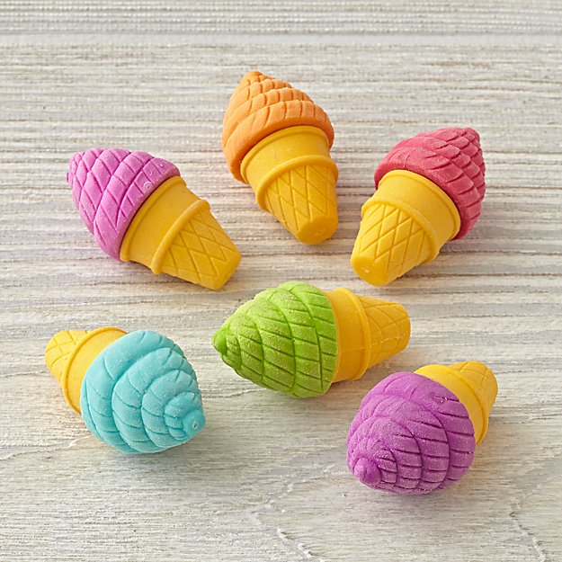 Ice Cream Shoppe Erasers (Set of 6)