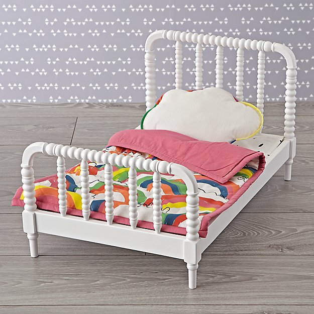 Jenny Lind Doll Bed with Rainbow Doll Bedding Set