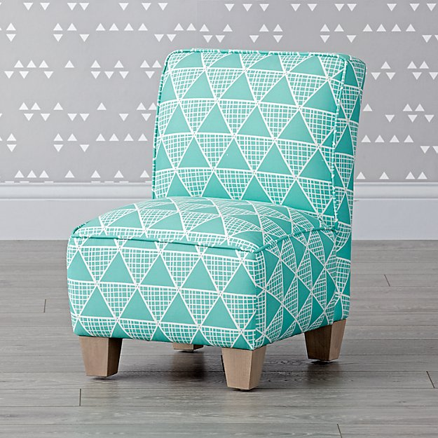 Turquoise Triangles Petite Upholstered Chair