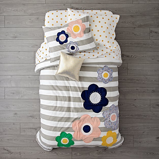 Grey Striped with Flowers Bedding