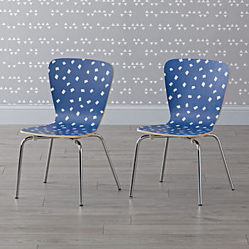 Set of 2 Little Felix Navy Confetti Kids Chairs