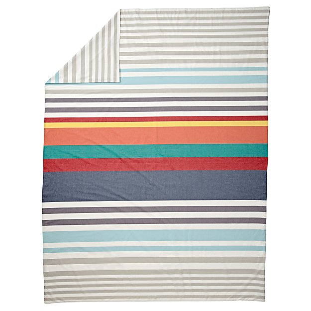 Multi-Color Striped Twin Duvet Cover