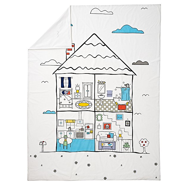 Interactive Dollhouse Full-Queen Duvet Cover